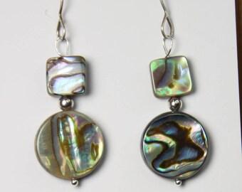 Abalone Shell Earrings Paua Shell Earrings 925 Sterling Silver Hooks, beach jewelry, gifts for her E2306