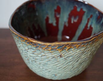 Large Ceramic Bowl with Textured Outside