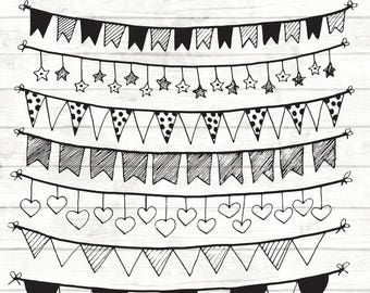 Bunting Clipart - 16 Hand Drawn bunting Clipart - Wedding Bunting Clipart - Digital Bunting - Wedding invitation Clipart - 84