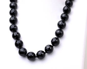 Faceted Black Onyx Necklace Hand Knotted with Sterling Silver 925 Lock 19""