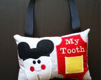 Tooth Fairy Pillow - Mouse - Grey Polka Dot - Tooth Pillow - First Tooth
