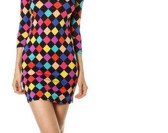 Black & Rainbow Checkers Slinky Dress With 3/4 Sleeves