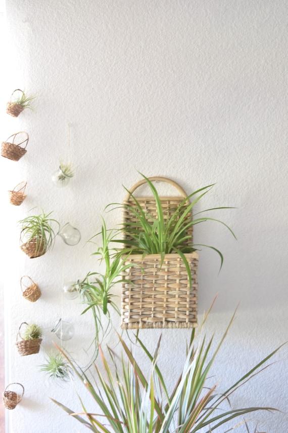 woven wood rattan wall basket planter