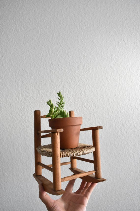 vintage miniature doll wicker wood rocking chair / plant stand