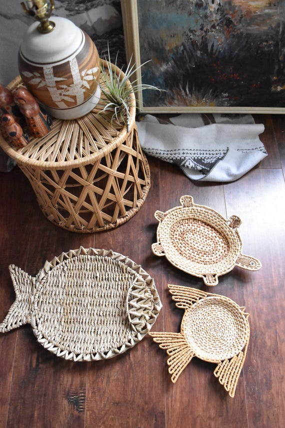 woven straw rattan fish or turtle wall basket figurine