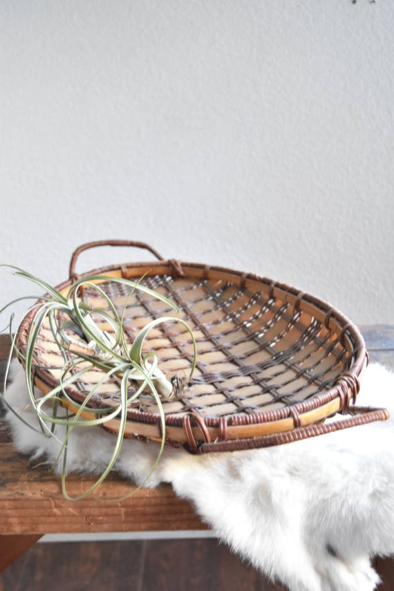 mid century oval woven wicker rattan bamboo wood tray with handles