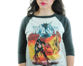 Vintage WASP shirt 1985 The Last Command Concert shirt Band Tee 3/4 Sleeve Baseball tee Wasp shirt Wasp Tee 1980s shirt 1980s tee Concert L