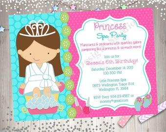 Princess Spa Party Invitation Princess Spa day Princess Spa Party birthday party invitation invite princess spa birthday invitation DIY