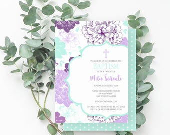 Purple Floral Baptism Invitation, Girl Baptism Invite, Chrysanthemums, Cross, Purple, Light Teal, 742