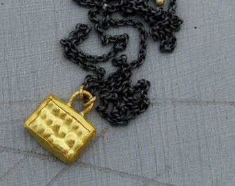 24k Gold Rectangle Pendant - Pure Gold & Silver Necklace - Find  Gold Ethnic Pendant