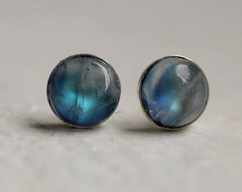 Turquoise Moonstone Earrings ... Stud Post Blue Opal Vintage
