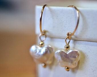 Butterfly Earrings, Cultured Freshwater Pearl Earrings, Pearl Bridal Jewelry, Wedding Jewelry, Pearl Dangles, 14K Gold Filled Earrings