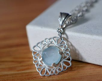 Aquamarine Necklace, Seafoam Milky Aquamarine Pendant, Sterling Silver Filigree Necklace, Natural Gemstone Bride & Bridesmaid Jewelry