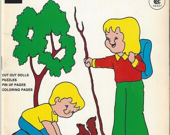 Vintage Teeny Weeny Adventures Toby and Terri Go Camping Coloring/Activity Book, 1973