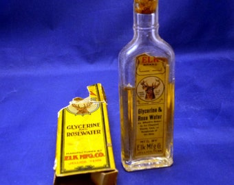 Vintage Elk Brand Drugs Glycerine and Rosewater Bottle, Late 1800s - Early 1900s