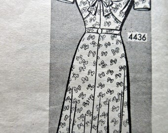 Vintage Anne Adams 4436 Sewing Pattern, 1940s Dress Pattern, Mail Order pattern, Bust 34, Tie Front Bodice, 1940s Sewing Pattern, Day Dress