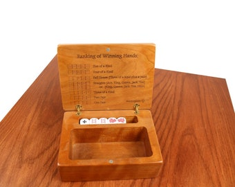 Poker Dice Box, Solid Wooden Cherry, Laser Engraved,  Paul Szewc, Masterpiece Gallery