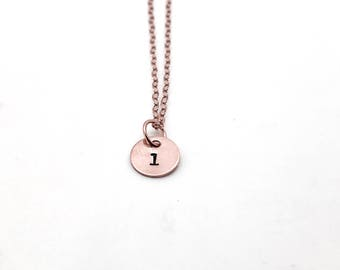 l Necklace, Rose Gold, Initial Necklace, All Letters Available, Hand Stamped Jewelry, Personalized Jewelry, Mother's Necklace, Custom