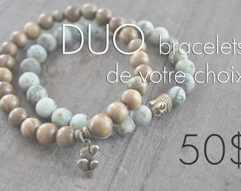 DUO de bracelets - pierres naturelles - bois - commande personnalisée - faites votre choix - Coco Matcha