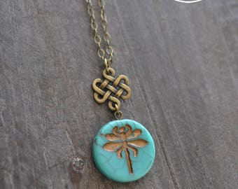 Collier libellule - Collier turquoise - Bijou sarcelle - Collier bronze - Coco Matcha