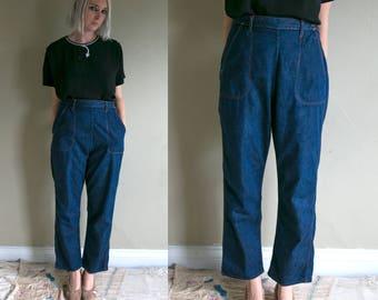 Vintage 1950's Jeanies Blue Bell Sanforized Blue Jeans, 1940's 50's Denim, Women's Zip Up Side, Vtg Jeans Americana, 30 x 30