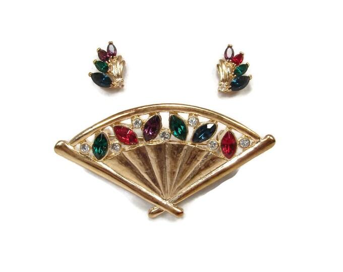Vintage Rhinestone Fan Brooch Matching Earrings Signed ROMAN,