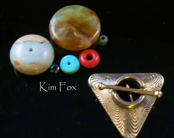 Triangle Toggle with Labyrinth Pattern in Golden Bronze or Sterling Silver by Kim Fox - 2 links