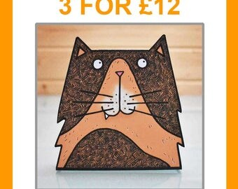 Assorted multipack of 3 3D creature cards - birthday card animal card animal lover card cat card dog card