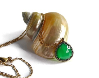 Green Onyx Pave Necklace, Gold Filled Pendant Necklace, Pave Pendant, Emerald Green, White Topaz Pave Setting