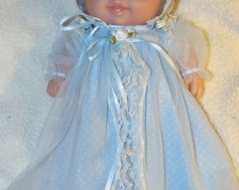 Lil Cutesie clothes - Baby blue long dress, bonnet, panties and socks