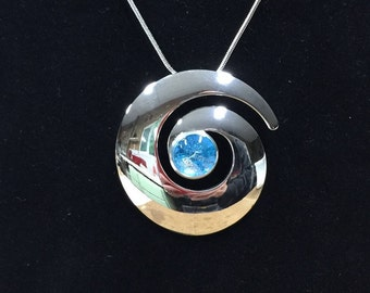 Stained Glass Swirl Contemporary Silver Dichroic Fused Glass Pendant