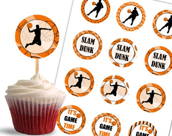 Basketball Cupcake Toppers, Birthday Printable Cupcake Toppers, Basketball Theme Party Decorations - Instant Download - DP441