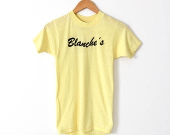 vintage graphic tee, 80s Blanche's t-shirt, yellow small thin tee-shirt