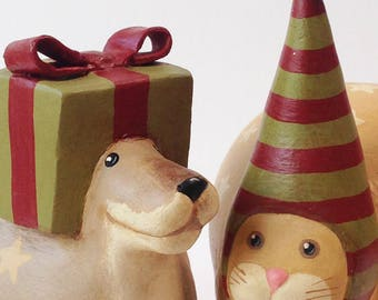 Primitive Folk Art Dog and Cat With Christmas Hats OOAK