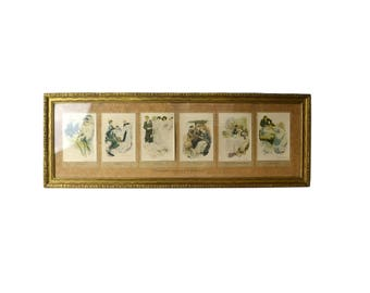 The Greatest Moments of a Girl's Life, Framed Early Woman-hood Postcards Set Reinthal Newman NY