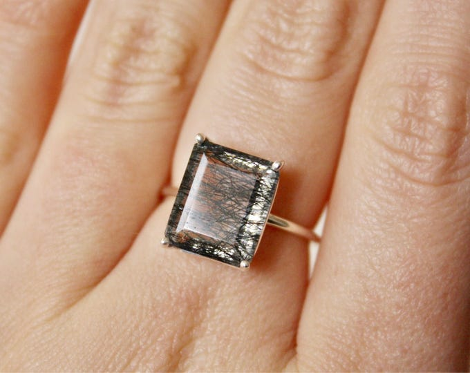 Faceted Emerald Cut Tourmalinated Quartz Ring in sterling silver - black rutilated quartz ring - gemstone ring - unique engagement ring