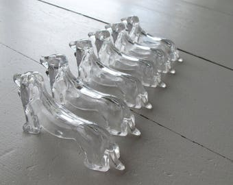 Lot de 6 français reste au couteau en forme de chien, chiens Weiner teckel Miniature