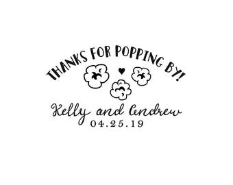 Wedding - Gift - Personalized Custom Rubber Stamp or Self Inking - Popcorn Popping By Favor Bag Wedding Leaf Leaves Save Date Stamp -