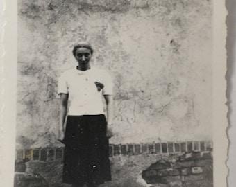 "Vintage Photo ""Gloomy Glinda"" Snapshot Antique Black & White Photograph Paper Found Ephemera Vernacular Interior Design Mood - 192"