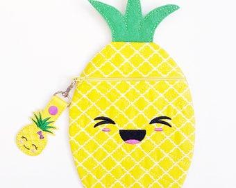 Pineapple Zipper Pouch - Kids Pencil Case - Personalized Kids Bag - Childs Pencil Pouch - Desk Accessory - Kawaii School Supplies - BTS Bag
