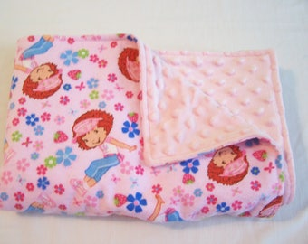 Baby Blanket - Strawberry Shortcake Blanket - Stroller Blanket - Pink Blanket - Pink Minky Blanket - Baby Minky Blanket - Pink Minky Blanket