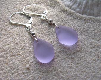 Purple Sea Glass Earrings Beach Glass Jewelry Purple Bridesmaid Jewelry SeaGlass Earrings Lavender Beach Wedding Jewelry