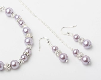 Lavender Bridesmaid jewelry set, pearl earrings and necklace set, Lavender wedding jewelry, bridesmaid jewelry, pearl rhinestone jewelry set