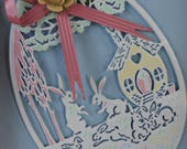 Vintage 1970s 1980s Midwest Importers Metal Cut Out Easter Bunny Cottage Egg Hang Ornament