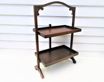 Antique Tea Table | Wood Folding Table | 2 Tier Stand | Oak Server | Folding
