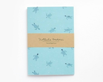 Turquoise lover gift, turquoise notebook, sea notebook, turtle pattern, sea turtle, nautical notebook, gift for sea lover, stationery gift