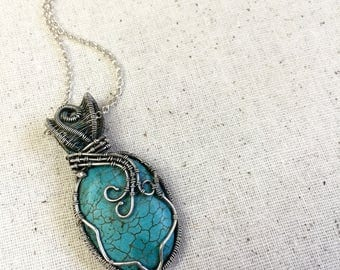 Turquoise gemstone necklace,Fine silver wire wrapped pendant,Turquoise Magnesite pendant, sterling silver chain,handmade necklace.