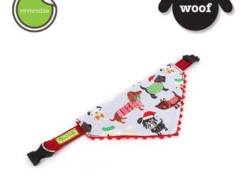 CHRISTMAS GOOOD Dog Collar (Small Sz)   Scarf - Festive Dogs   100% Red Trimming & Light Blue Fabric