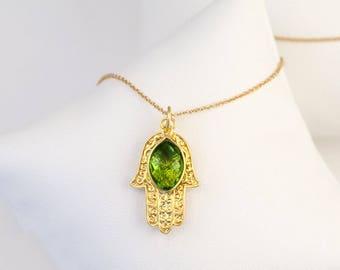 Eye Evil Eye Jewelry, Birthstone Jewelry, Peridot Necklace, Bat Mitzvah Gift, August Birthstone Necklace, Hamsa Hand