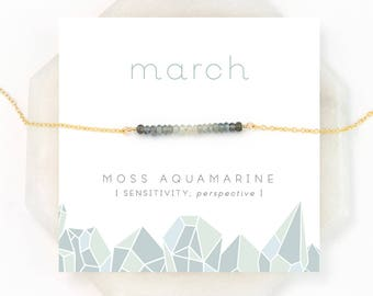 Moss Aquamarine Ombre Necklace, March Birthstone Necklace, Gemstone Bar Necklace, Personalized Gift, Birthday Gift, Inspirational Jewelry